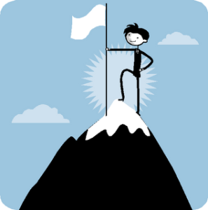stick figure planting a flag on a mountaintop