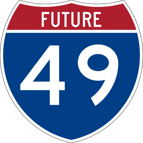 "Blue and red road sign, reading ""Future 49"""