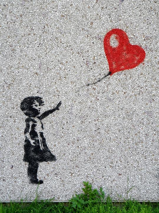 Balloon Child Mural Girl Innocent Heart Graffiti