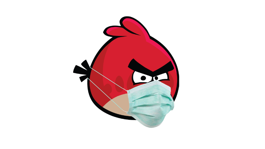 A picture of the red Angry Bird wearing a medical mask.