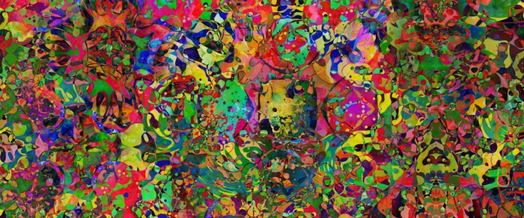 An abstract, psychedelic mixture of swirls, blobs and colors.