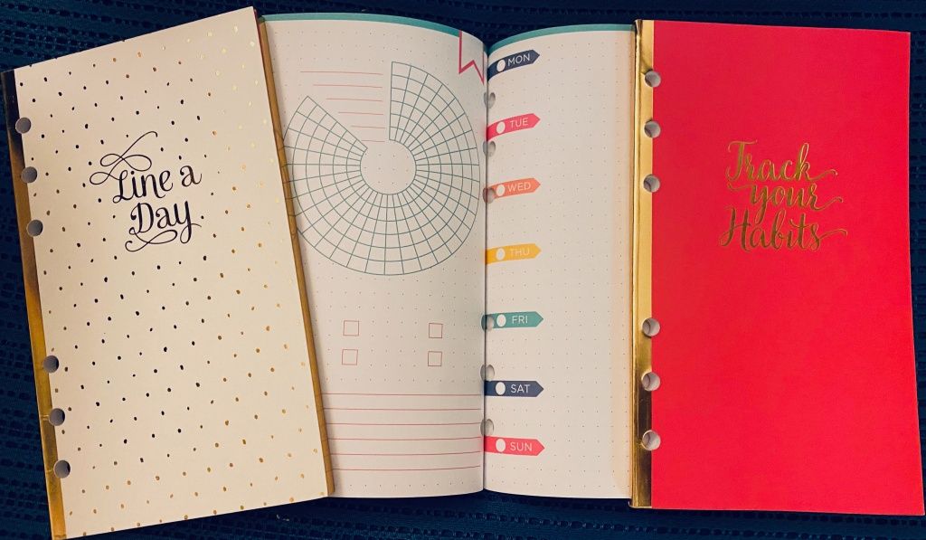 """Assorted 6-ring planner pages: two small notebooks labelled """"Line a Day"""" and """"Track your Habits"""" and a page showing a circular tracker and a page with spaces labeled for the 7 days of the week."""