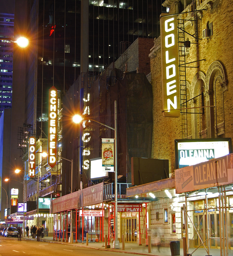 Nighttime photo of the Broadway theaters on West 45th Street (George Abbott Way) in New York City.