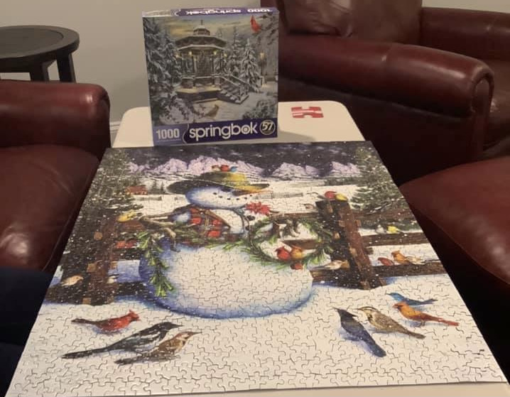 A completed puzzle sitting in front of the puzzle box it was packaged in. The puzzle box shows a wintry scene with a gazebo among tress, with a single red cardinal ion the foreground. The completed puzzle shows a wintry scene of a snowman standing in front of a wooden fence, surrounded by more than a dozen birds.