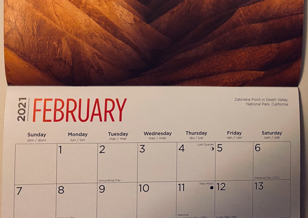 A calendar showing the first 2 weeks of February 2021.